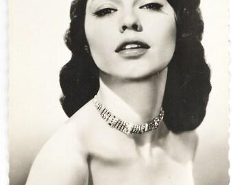 1950s Period Postcard Black White Photograph Of American Film Star Valerie Allen