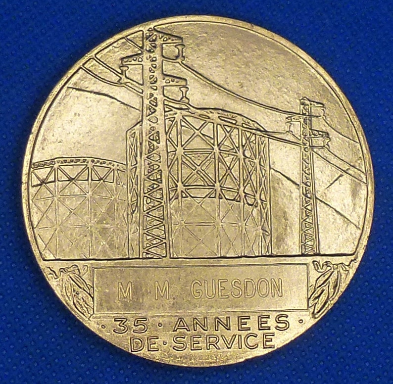 Awarded For 35 Years Long Service. Large Bronze French Art Medal by Medalist H.Dropsy. Naked Male With Fire