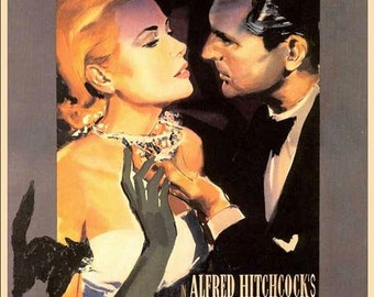 """Copy of 1955 Romantic Thriller Hitchcock Film Poster """"To Catch A Thief"""".  Starring Cary Grant & Grace Kelly,  An A4 Size Poster"""