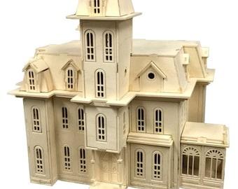 88a1bfc31 Addam's Family House Model Kit, Halloween Decor, TV Show, Wooden Model,  Laser Engraved, Gift, Present, Hobby, Craft, Handmade, Home Decor