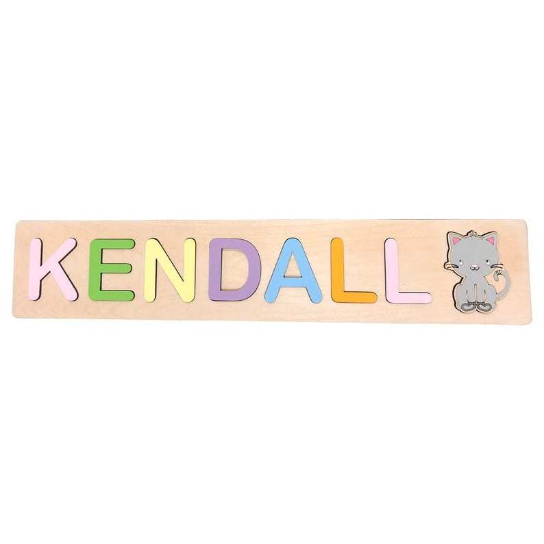 Kids Name Puzzle With Kitten, Personalized Wooden Puzzle, Bubble Font,  Teaching Toy, Pastel,Baby Gift, Baby Shower, Baby Gift, Rainbow