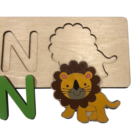 Jungle Friends Personalized Wooden Name Puzzle With A Lion Rainbow Colors