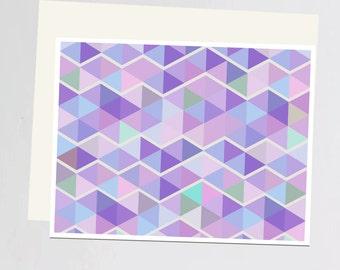 Purple geometric print Greeting Card