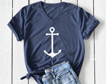 nautical sailing sea sail Womens Baseball Top Nautical Anchor Pocket Logo