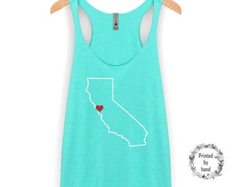 California Tank Top | California Shirt - Move The heart To Any City - Cali Tank Top - Cali Shirt - California - Racerback Tank Top