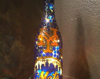 New York Mets Lighted Wine Bottle