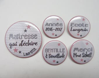 Mistress who rips - Grey and Old Rose Chevrons - Lot of 5 Customizable Magnets