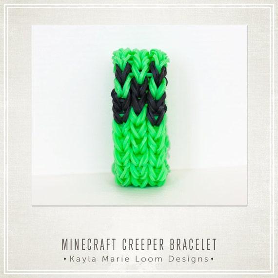 Items similar to Minecraft Creeper Rainbow Loom Bracelet