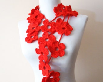 Crochet lariat scarf, Red crochet necklace scarf, Crochet lariat flower scarf, Crochet floral winter fashionred floral neckwarmer