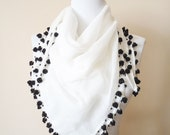 Blackberry beaded croched edge cotton scarf, anatolian white pure cotton scarf, Vintage from my mother dowry chest, Unique gifts