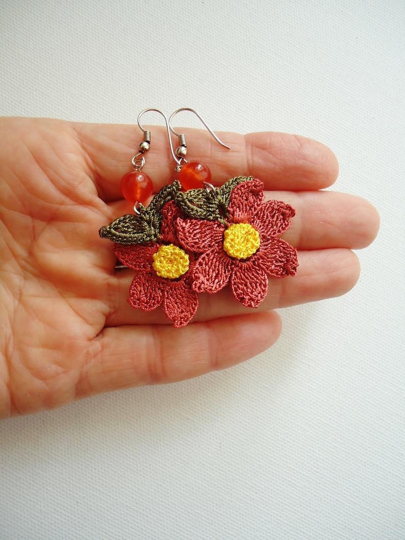 Autumn colored crochet florwer earrings handmade floral earring