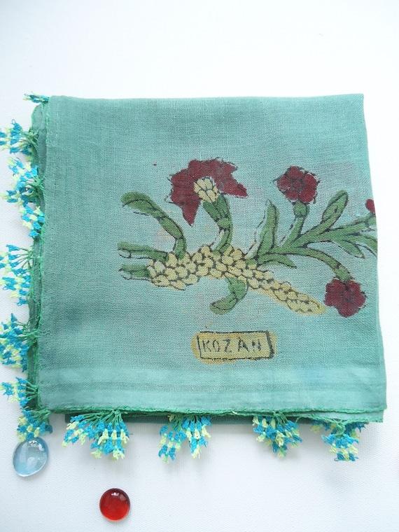 Vintage Turquoise green Turkish oya headscarf