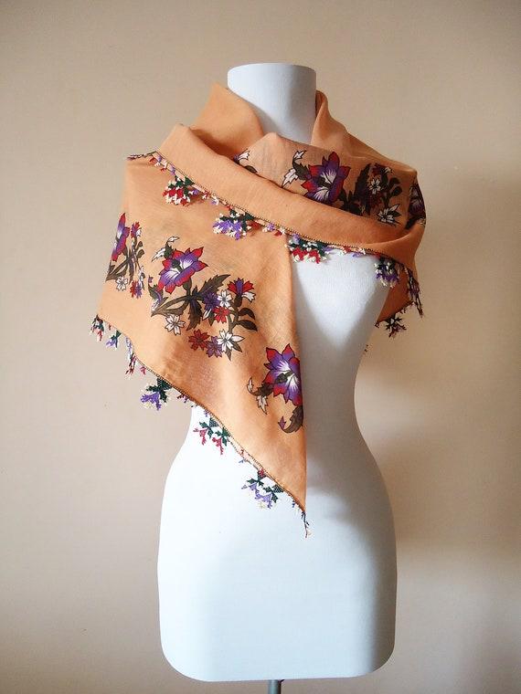 Dark Salmon Pink Turkish needle lace oya scarf wit