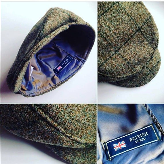ffe76af31d26 Boys Baby Country Green Large check Tweed Wool Flat Cap | Etsy