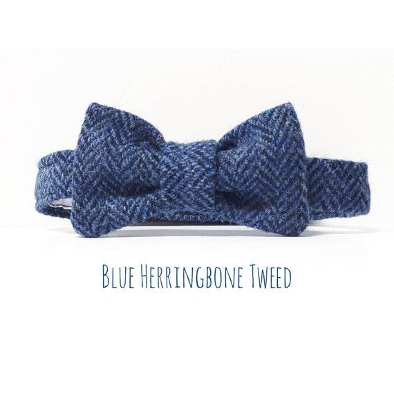 Mens Kids Boys Matching Herringbone Tweed Dickie Bow Tie in Tan Brown