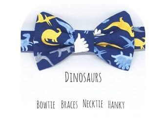 Boys Baby Dickie Bow Tie - Boys BowTie Wedding Pageboy Bowtie - Cotton Bowtie Dinosaurs bowtie Dino bowtie Bowtie