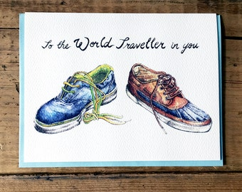 Bon Voyage Card / Travel Card / World Traveller Card / Traveling Shoes / Around the World / Travel / Shoes / To the World Traveller in you