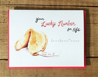 Valentine Card / Valentine's Day Card / Love Card / Romantic Card / Fortune Cookie Card / Fortune Card / Your Lucky Number for Life