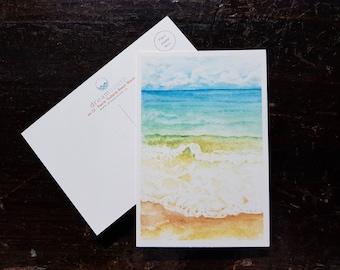 Puerto Vallarta Beach Scene / Beach Postcard / Beach Art / Mexico Art / Puerto Vallarta Themed Postcards / Watercolor Postcard /  Postcard