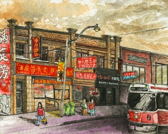 Toronto Art // Watercolor Giclee Print // Giclee Print of Original Watercolor Painting - Chinatown Toronto (Limited Edition)