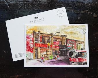 Toronto Postcard / Toronto Art / Toronto Themed Postcards / Watercolor Postcard /  Toronto Chinatown