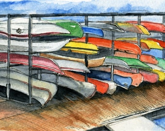 Toronto Art // Watercolor Giclee Print // Giclee Print of Original Watercolor Painting - Canoes @ HTO Park Toronto (Limited Edition)