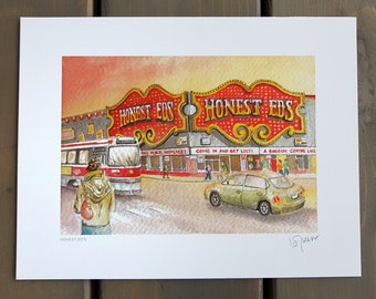 Toronto Art // Watercolor Giclee Print // Giclee Print of Original Watercolor Painting - Honest Ed's (Limited Edition)