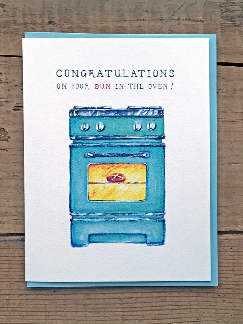 New Baby Card // New Baby Announcement // Buns in the Oven // image 0
