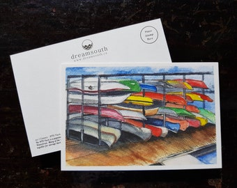 Toronto Postcard / Toronto Art / Toronto Themed Postcards / Watercolor Postcard /  Canoes HTO Park