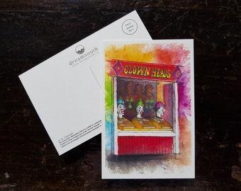 Toronto Postcard / Toronto Art / Toronto Themed Postcards / Watercolor Postcard /  Clown Heads at Centreville