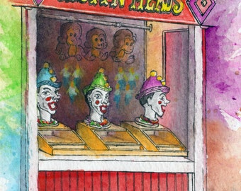 Toronto Art // Watercolor Giclee Print // Giclee Print of Original Watercolor Painting - Centreville Clown Heads (Limited Edition)