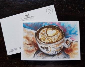 Toronto Postcard / Toronto Art / Toronto Themed Postcards / Watercolor Postcard / Coffee Art / Latte Art / Crema Coffee Co - Junction
