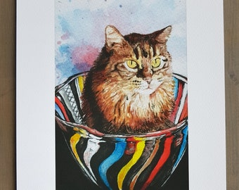 Cat Art // Watercolor Giclee Print // Giclee Print of Original Watercolor Painting - Kitty in a bowl (Limited Edition)