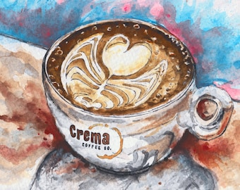 Toronto Art // Watercolor Giclee Print // Giclee Print of Original Watercolor Painting-Crema Coffee Co.-Junction location -(Limited Edition)