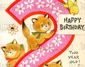 Happy Birthday 2 Year Old Kitty Cat Card #39 Digital Download