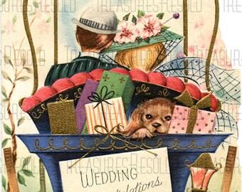 Just Married Bride & Groom Drive Off To Honeymoon Wedding Congratulations Card #531 Digital Download