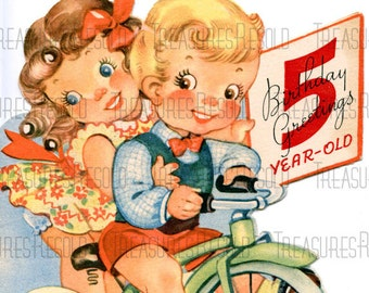 Happy Birthday 5 Year Old Boy And Girl On Tricycle Card 434 Digital Download