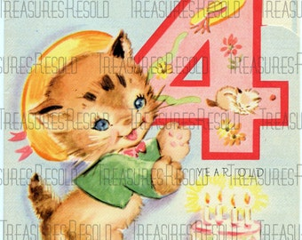 Happy Birthday 4 Year Old Kitten Card 12 Digital Download