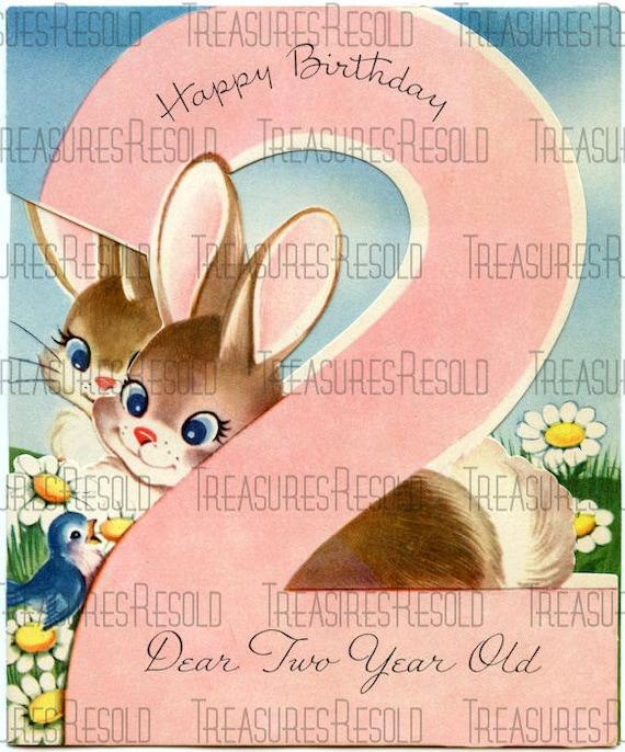 Joyeux Anniversaire 2 Ans Bunny Carte 174 Telechargement Etsy