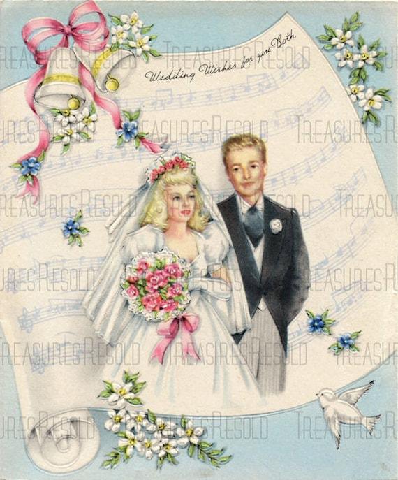 Best Wishes Bride & Groom Wedding Music Sheet Card 532