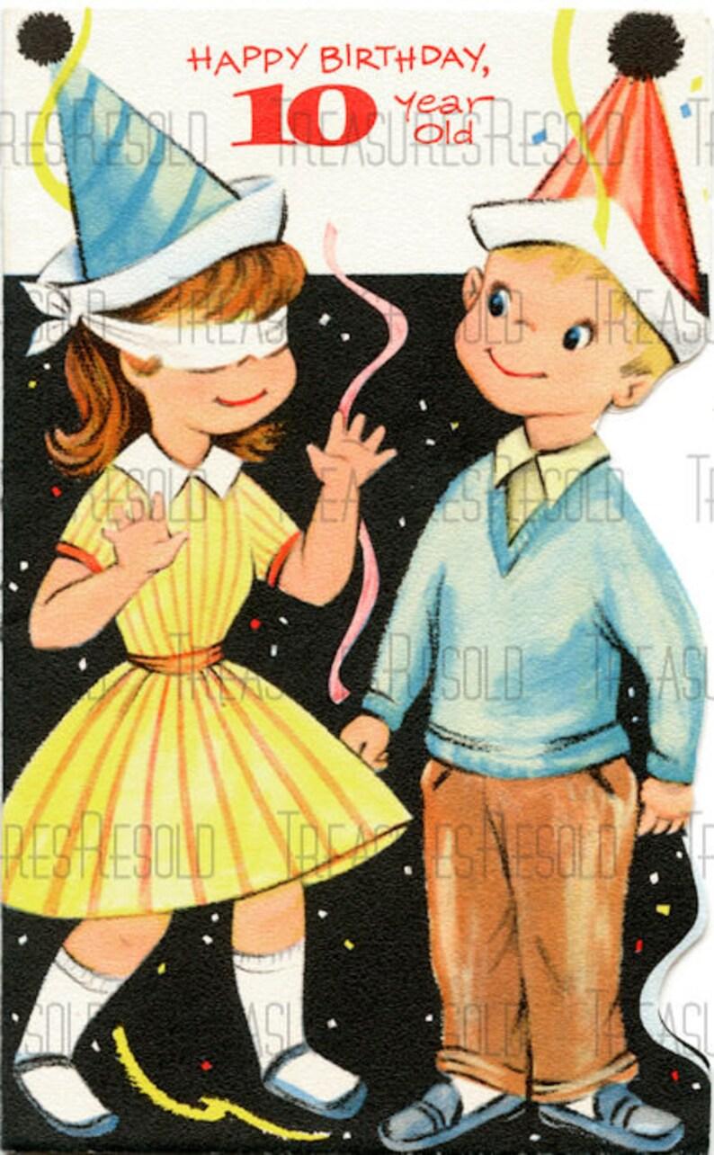 Happy Birthday 10 Year Old Boy Girl Party Card 631