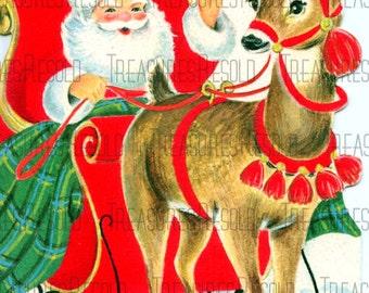 Retro Santa Sleigh Reindeer Christmas Card #64 Digital Download