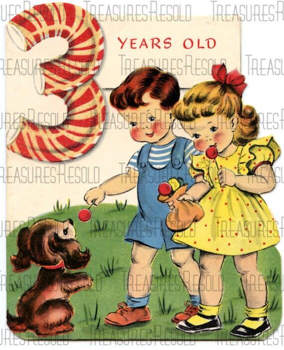 Verjaardag 3 Jarige.3 Jarige Childs Verjaardag Kaart 143 Digitale Download