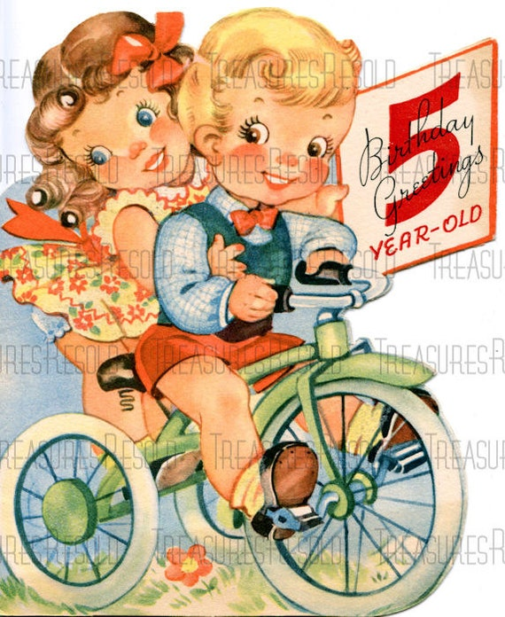Happy Birthday 5 Year Old Boy And Girl On Tricycle