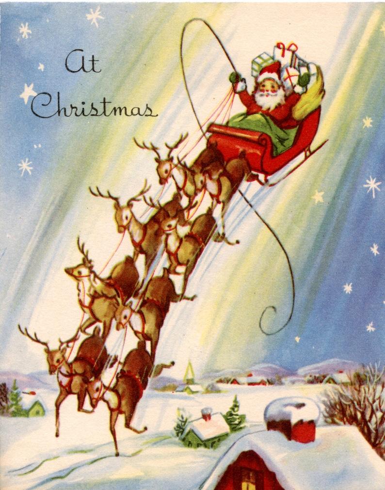 Vintage Santa Sleigh Reindeer Landing House Top Christmas Card Etsy