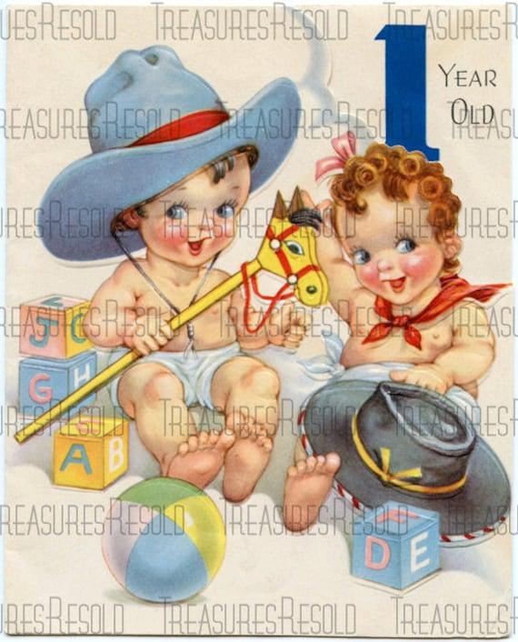 Childs Cowboy Happy Birthday One Year Old Card 102 Digital  902893cadd2