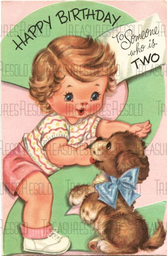 Joyeux Anniversaire 2 Ans Fille Chiot Avec Chien Carte 625 Etsy