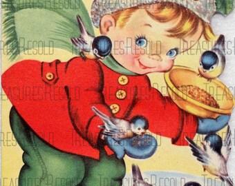 Boy Feeding Birds Christmas Card #23 Digital Download
