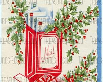 Retro Holly Mailbox Christmas Mail Card #191 Digital Download