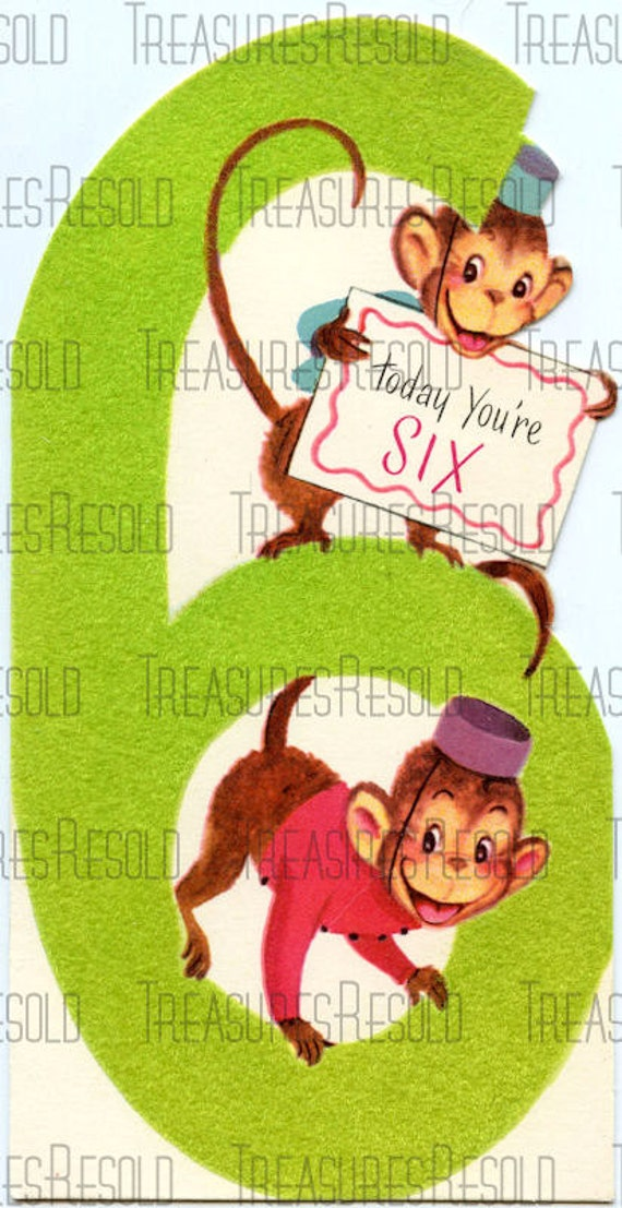 Happy Birthday 6 Year Old Monkey Card 178 Digital Download
